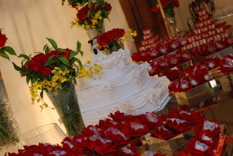 Dicas de Decoração para Casamento   Decoração de Casamento no Salão vermelho e branco