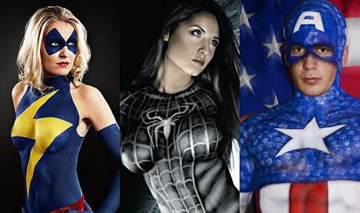 Modelos de Pinturas no Corpo para o Carnaval 2012  Fotos  pinturas corporal super herois