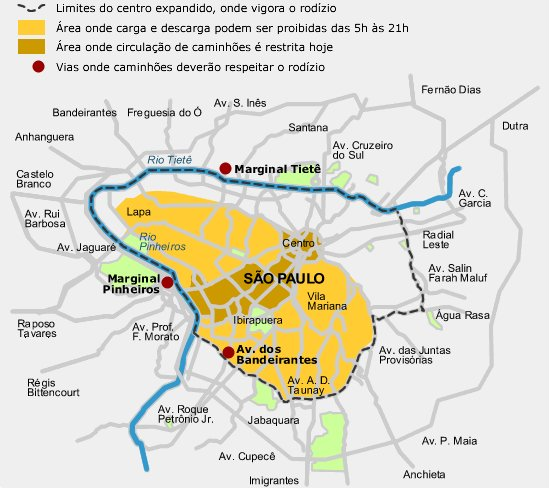 Rodízio de Veículo de São Paulo  Placa e Mapa Mapa do Rodizio de Sao Paulo