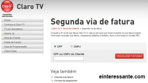 Segunda Via da Conta da Claro TV 300x168