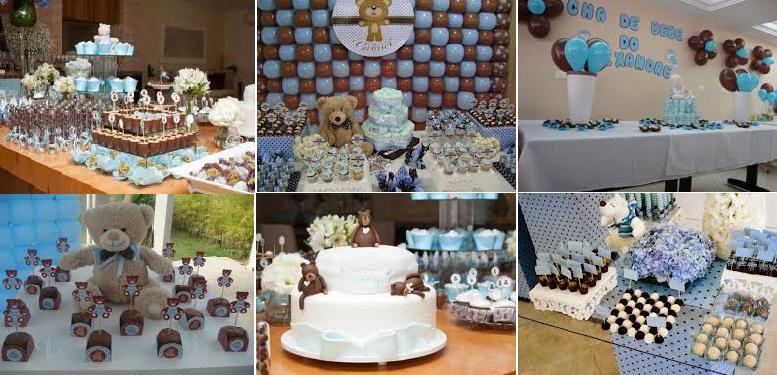 Decoração de Chá de Bebes Nas Cores Azul e Marrom   Lista de Presentinho bolo