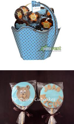 Decoração de Chá de Bebes Nas Cores Azul e Marrom   Lista de Presentinho op