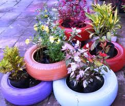 Decoração de Jardim com Pneus –  Dica pneus decoracao