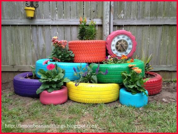 Decoração de Jardim com Pneus –  Dica pneus viram