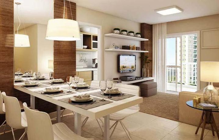 Decoração de Salas de Jantar Para Apartamentos Pequenos – Fotos e Dicas  sala apartamento 3 quartos vila das fontes residencial