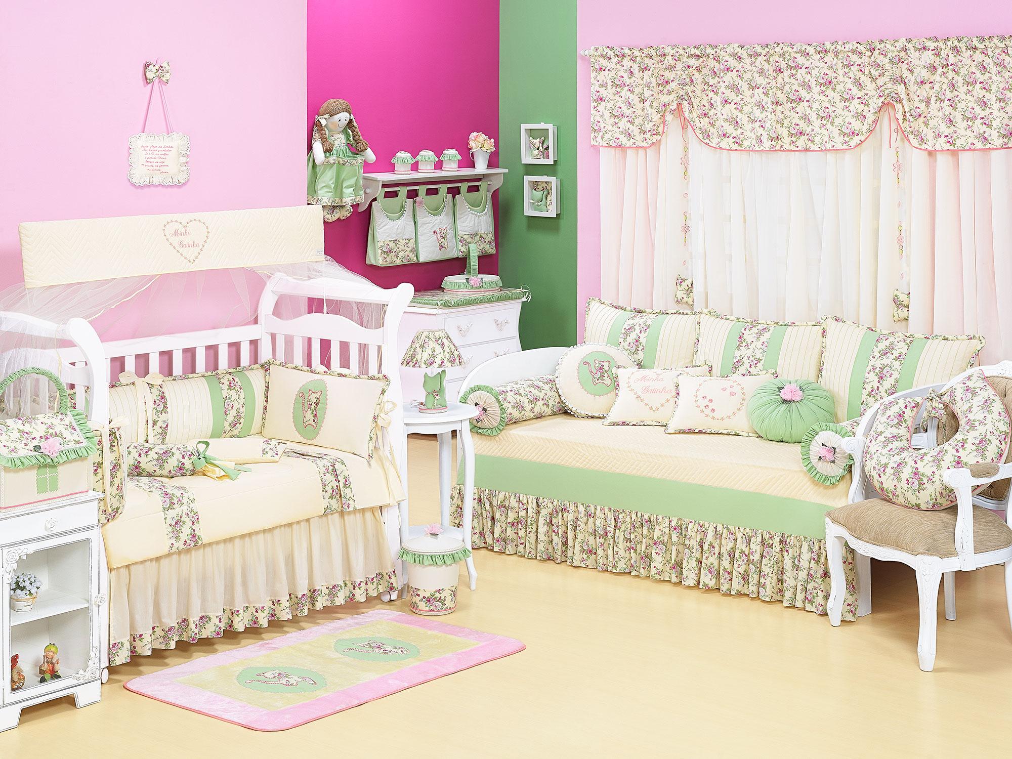 Decoração quarto de Bebês em Rosa e Verde –Fotos  ~ Quarto Rosa E Verde Bebe