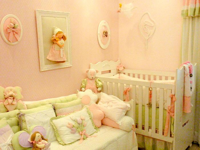 Decoração quarto de Bebês em Rosa e Verde –Fotos