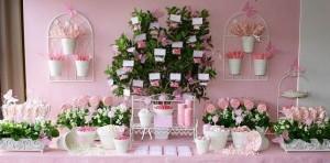 decoraçao chá de cozinha em rosa
