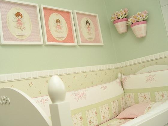 Decoração quarto de Bebês em Rosa e Verde –Fotos  ~ Quarto Rosa E Verde Agua