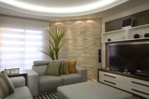 sala decorada com pedras