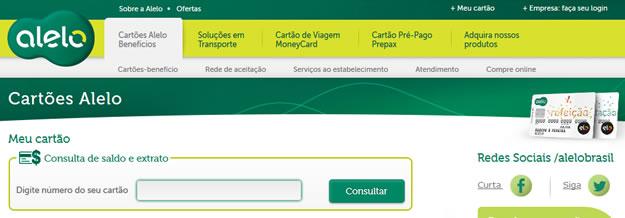 Cartão Alelo Refeição   Consulta de Saldo e Extrato Online Consulta de Saldo e Extrato Online Alelo