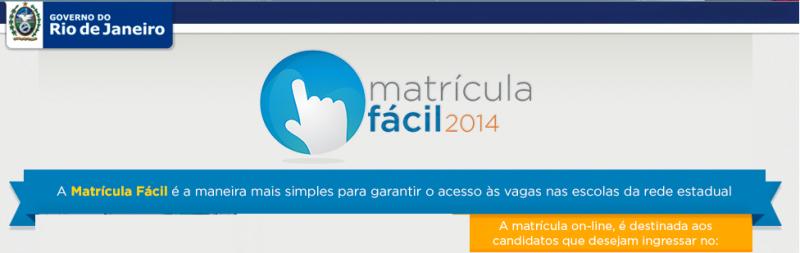 Matrícula Fácil RJ 2014 – 2ª Fase do Matrícula Fácil, Se Inscrever matricula facil 800x253
